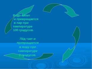Вода кипит и превращается в пар при температуре 100 градусов. Лёд тает и прев