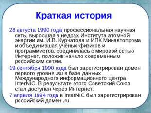 Краткая история 28 августа 1990 года профессиональная научная сеть, выросшая