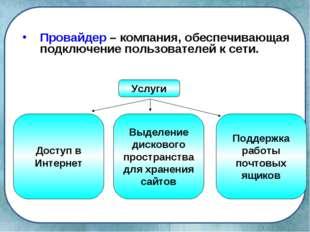 Провайдер – компания, обеспечивающая подключение пользователей к сети. Услуги