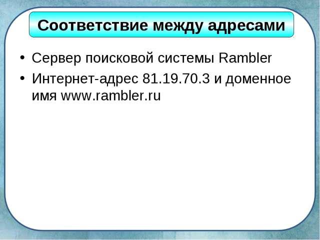 Сервер поисковой системы Rambler Интернет-адрес 81.19.70.3 и доменное имя www...