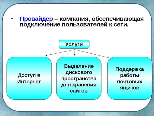 Провайдер – компания, обеспечивающая подключение пользователей к сети. Услуги...