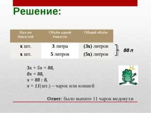 Решение: 3х + 5х = 88, 8х = 88, х = 88 : 8, х = 11(шт.) – чарок или ковшей От