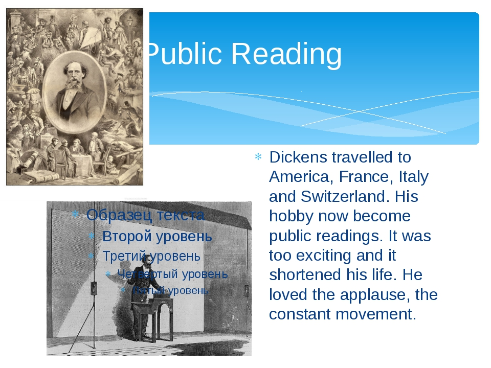 Public Reading Dickens travelled to America, France, Italy and Switzerland. H...