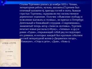 Ссылка Тургенева длилась до ноября 1853 г. Чтение, литературная работа, музык