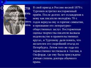 В свой приезд в Россию весной 1879 г. Тургенев встретил восторженный приём. П