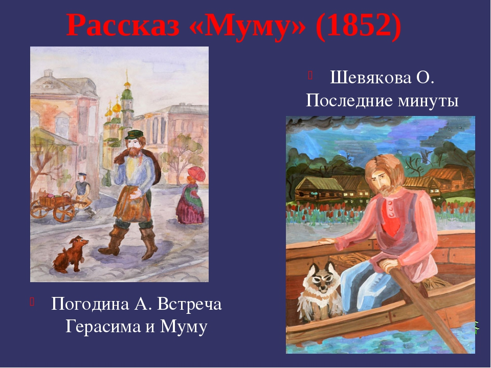 Рассказ «Муму» (1852) Погодина А. Встреча Герасима и Муму Шевякова О. Последн...