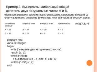 Пример 3. Вычислить наибольший общий делитель двух натуральных чисел A и B. p