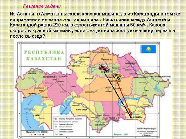 Решение задачи Из Астаны в Алматы выехала красная машина , а из Караганды в т...