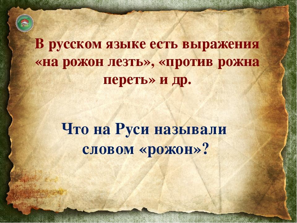 В Древней Руси рожон — заостренный с одного конца кол, шест, рогатина. Смельч...
