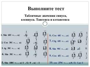 Выполните тест Табличные значения синуса, косинуса. Тангенса и котангенса 1.