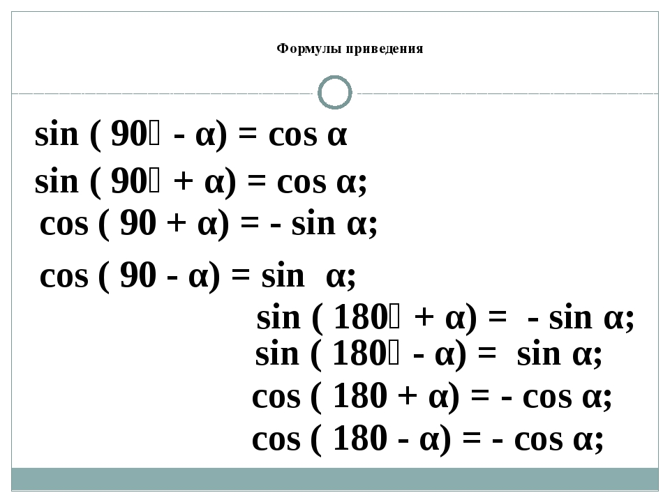 Формулы приведения sin ( 90⁰ + α) = cos α; cos ( 90 + α) = - sin α; sin ( 90⁰...