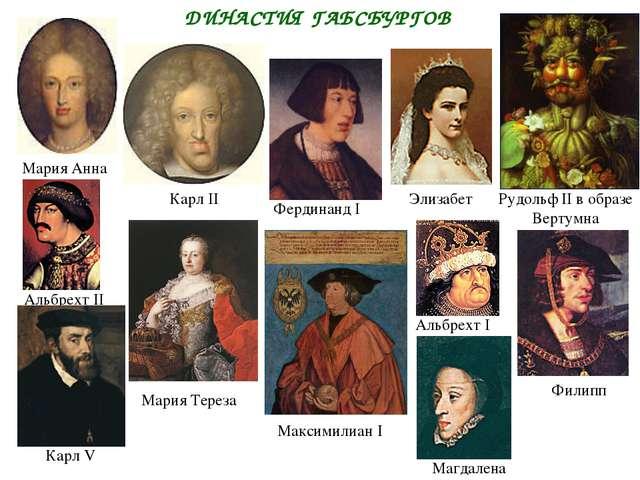 ДИНАСТИЯ ГАБСБУРГОВ Альбрехт I Альбрехт II Максимилиан I Карл II Фердинанд I...