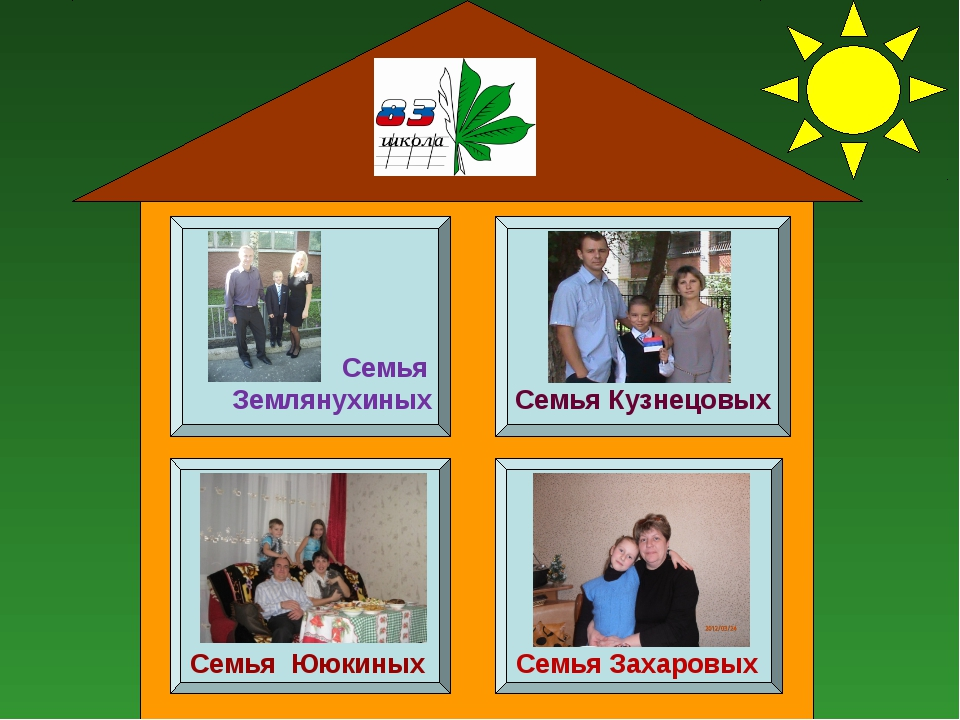 Семья Землянухиных Семья Кузнецовых Семья Ююкиных Семья Захаровых
