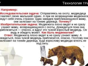 Технология ТРИЗ Исследовательская задача: Отправляясь на охоту, медведица ост