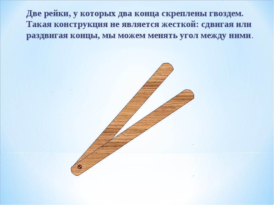 Две рейки, у которых два конца скреплены гвоздем. Такая конструкция не являет...
