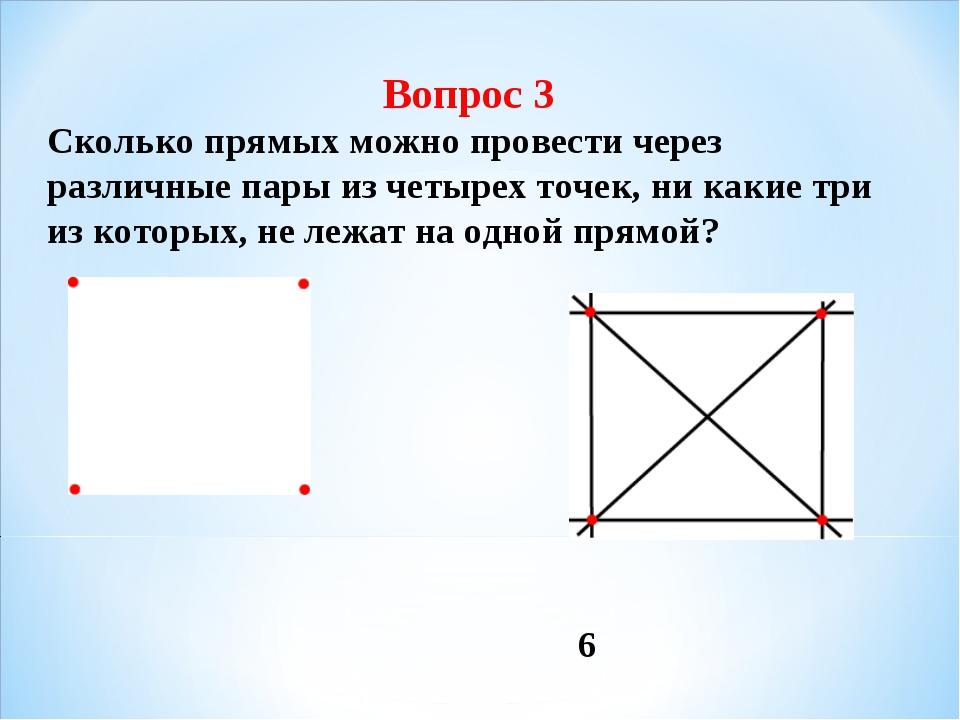 Вопрос 3 Сколько прямых можно провести через различные пары из четырех точек,...
