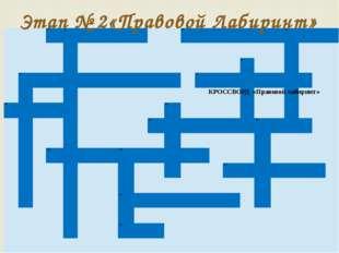 Этап № 2«Правовой Лабиринт» КРОССВОРД «Правовой лабиринт»    1. 2.