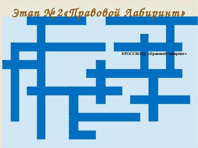 Этап № 2«Правовой Лабиринт» КРОССВОРД «Правовой лабиринт»    1. 2.    ...