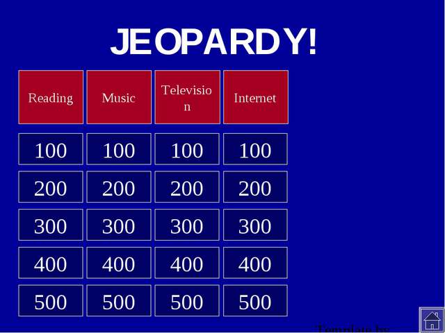 JEOPARDY! 100 100 100 100 200 200 200 200 300 300 300 300 400 400 400 400 500...