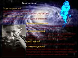 Типы курения : Психосоциальный : средство самоутверждения, достижения социаль