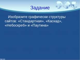 Задание Изобразите графически структуры сайтов: «Стандартная», «Каскад», «Неб