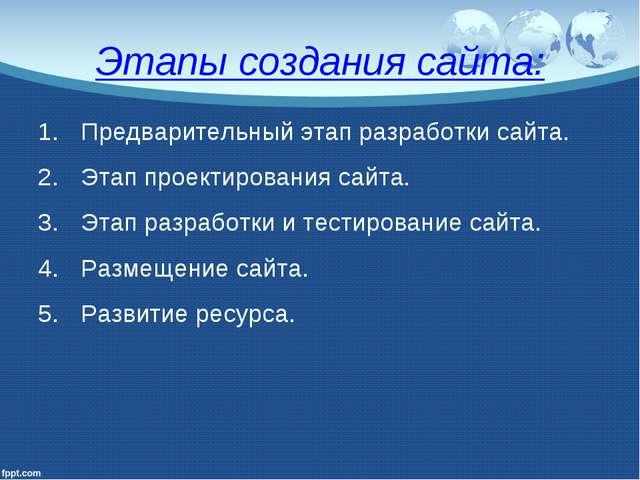 Этапы создания сайта: Предварительный этап разработки сайта. Этап проектирова...