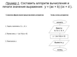 Пример 1. Составить алгоритм вычисления и печати значения выражения: y = (ax