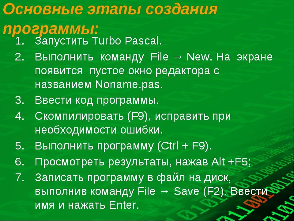 Основные этапы создания программы: Запустить Turbo Pascal. Выполнить команду...