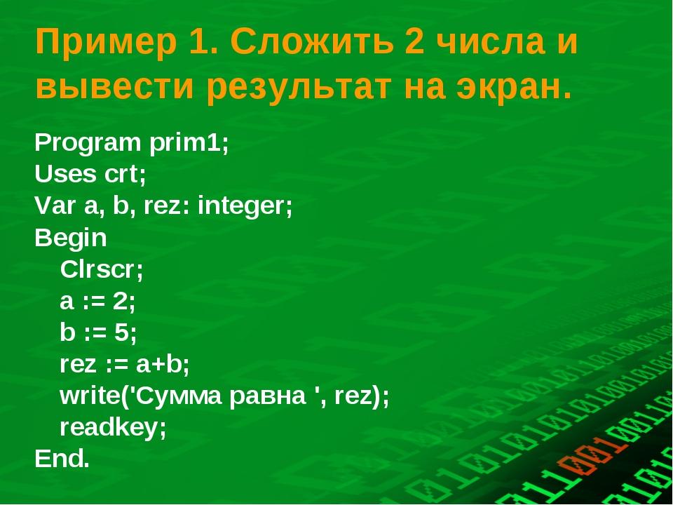Пример 1. Сложить 2 числа и вывести результат на экран. Program prіm1; Uses c...