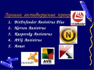 Лучшие антивирусные программы: BitDefender Antivirus Plus Norton Antivirus Ka