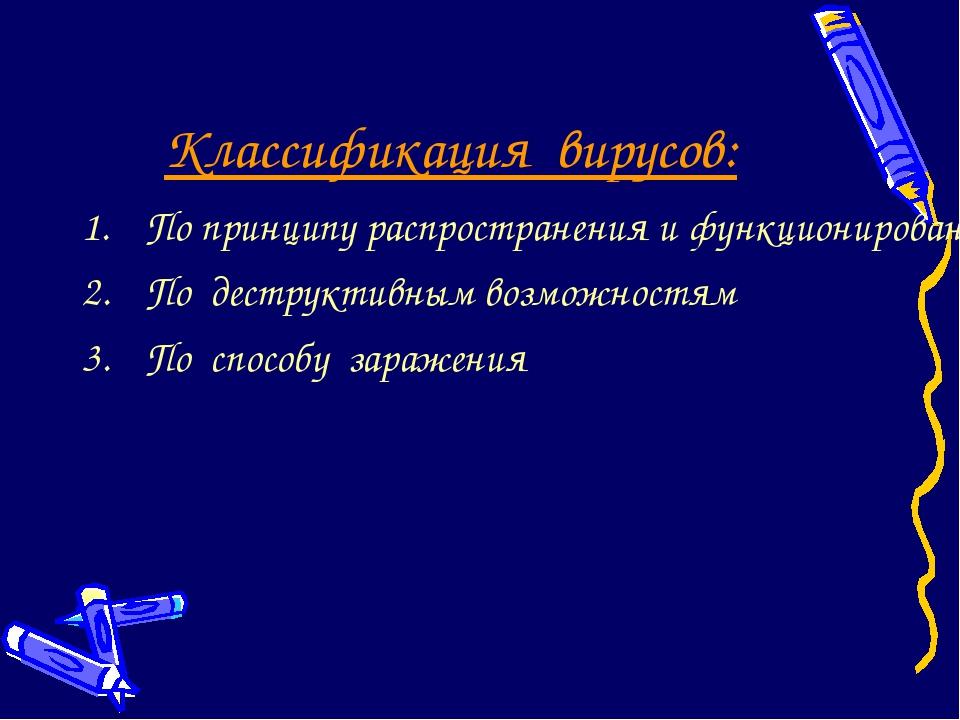 Классификация вирусов: По принципу распространения и функционирования По дест...