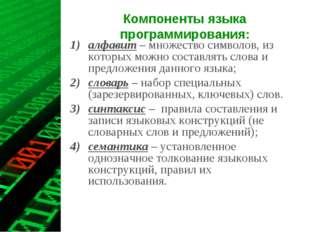 Компоненты языка программирования: алфавит – множество символов, из которых м