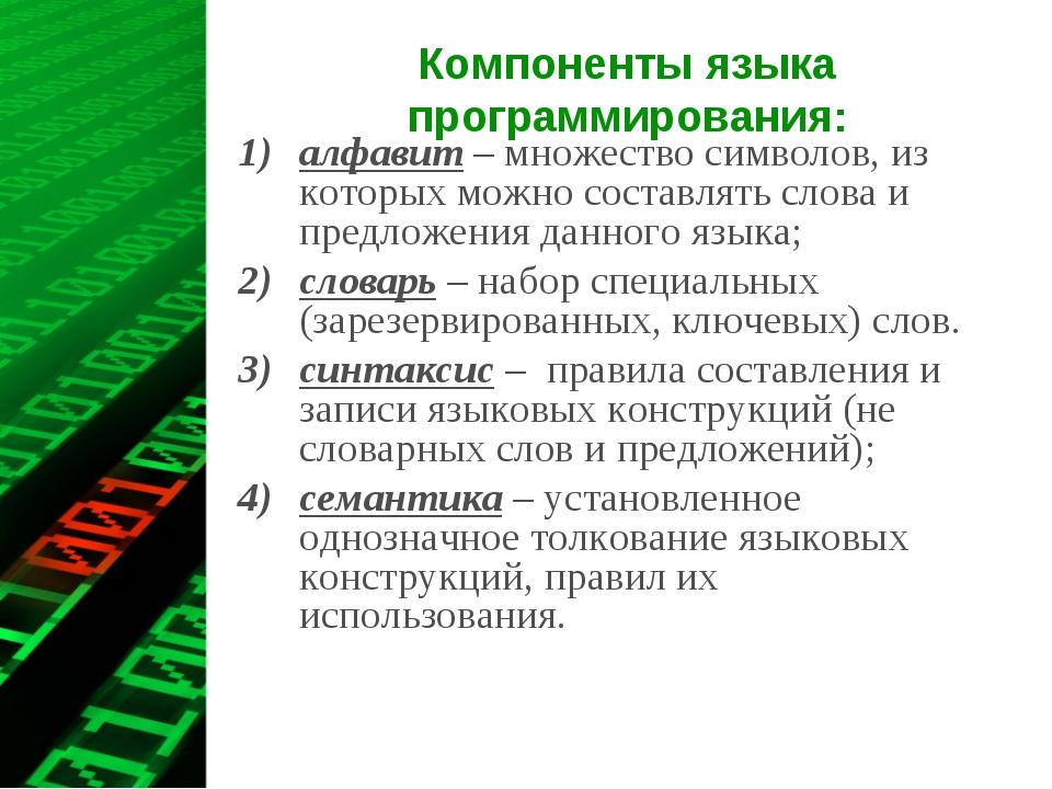 Компоненты языка программирования: алфавит – множество символов, из которых м...