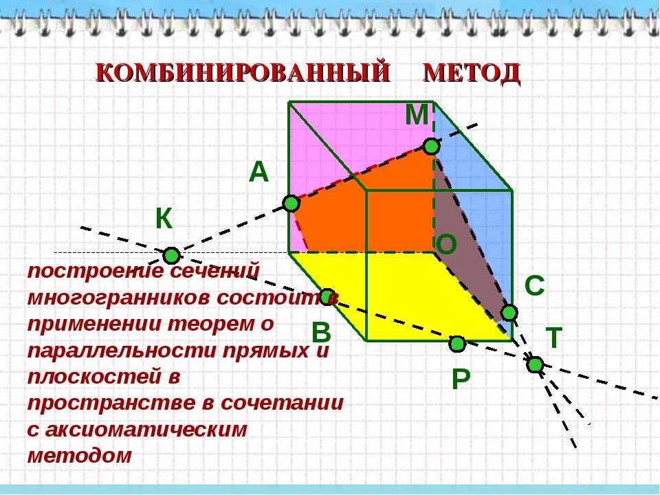 М Р К А В О Т С КОМБИНИРОВАННЫЙ МЕТОД построение сечений многогранников состо...