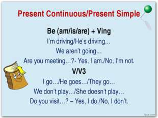 Present Continuous/Present Simple Be (am/is/are) + Ving I'm driving/He's driv