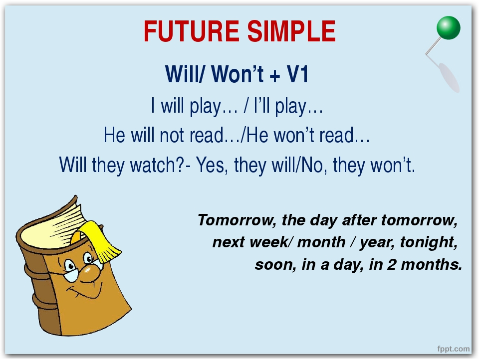 FUTURE SIMPLE Will/ Won't + V1 I will play… / I'll play… He will not read…/He...