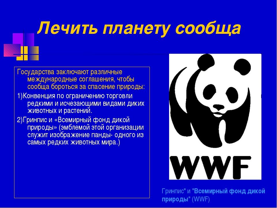 """Гринпис"""" и """"Всемирный фонд дикой природы"""" (WWF) Государства заключают различн..."""