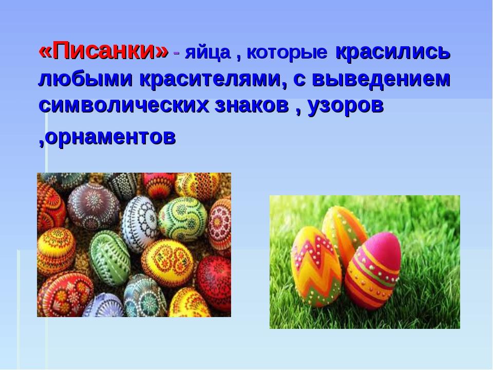 «Писанки» - яйца , которые красились любыми красителями, с выведением символи...