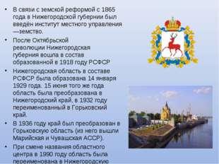 В связи с земской реформой с1865 годавНижегородской губерниибыл введён ин