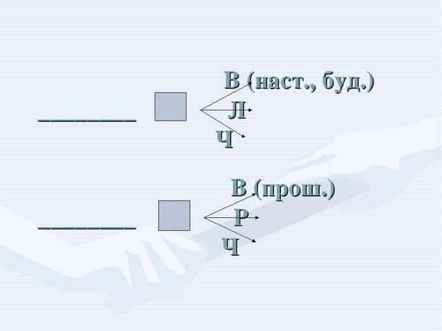 В (наст., буд.) ________ Л Ч  В (прош.) ________ Р Ч