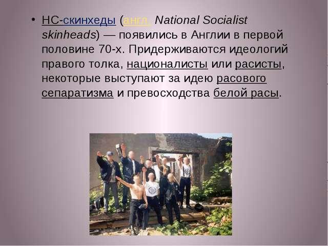НС-скинхеды (англ.National Socialist skinheads)— появились в Англии в перво...