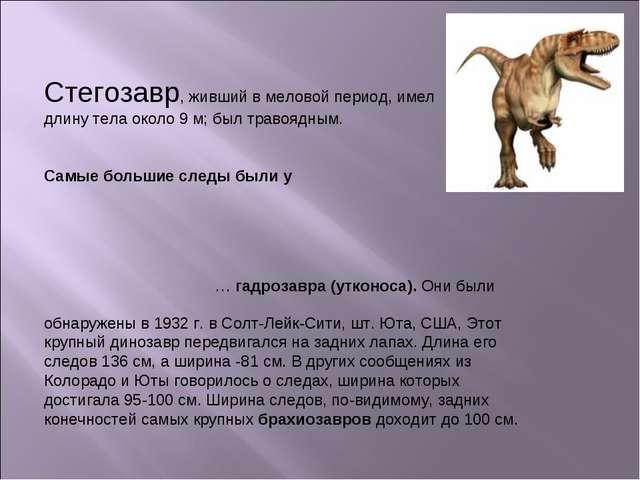 Стегозавр, живший в меловой период, имел длину тела около 9 м; был травоядным...