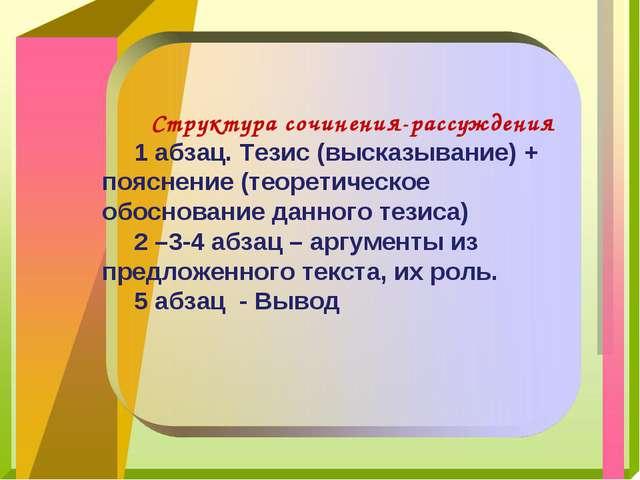 Структура сочинения-рассуждения 1 абзац. Тезис (высказывание) + пояснение (т...