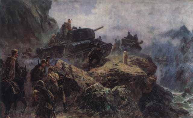 Переход советских войск через Хинган. Автор: Усыпенко Ф.