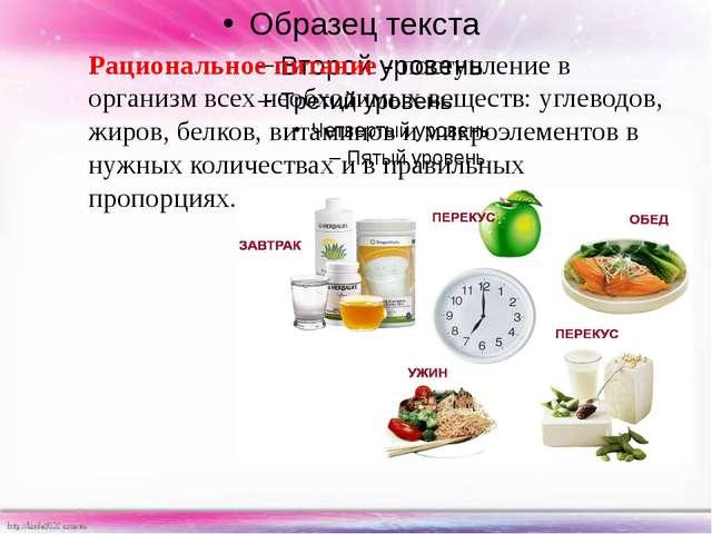 Рациональное питание -поступление в организм всех необходимых веществ: угле...