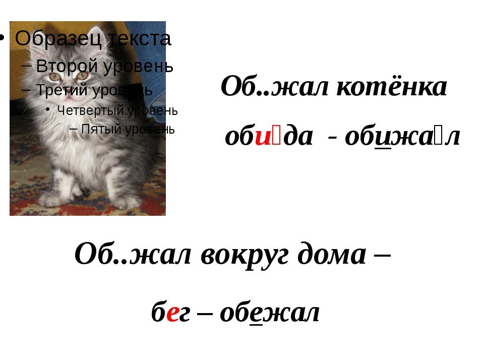 Об..жал котёнка оби́да - обижа́л Об..жал вокруг дома – бег – обежал