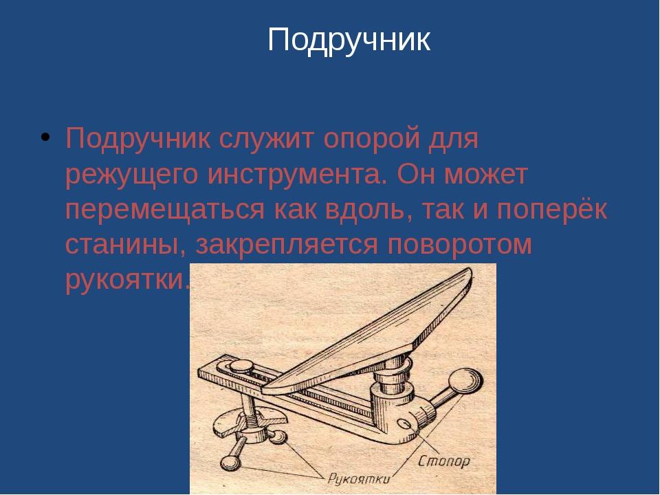 Подручник служит опорой для режущего инструмента. Он может перемещаться как в...