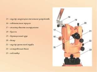 15 – окуляр микроскопа отсчетного устройства 16 – осветительное зеркало 17 –