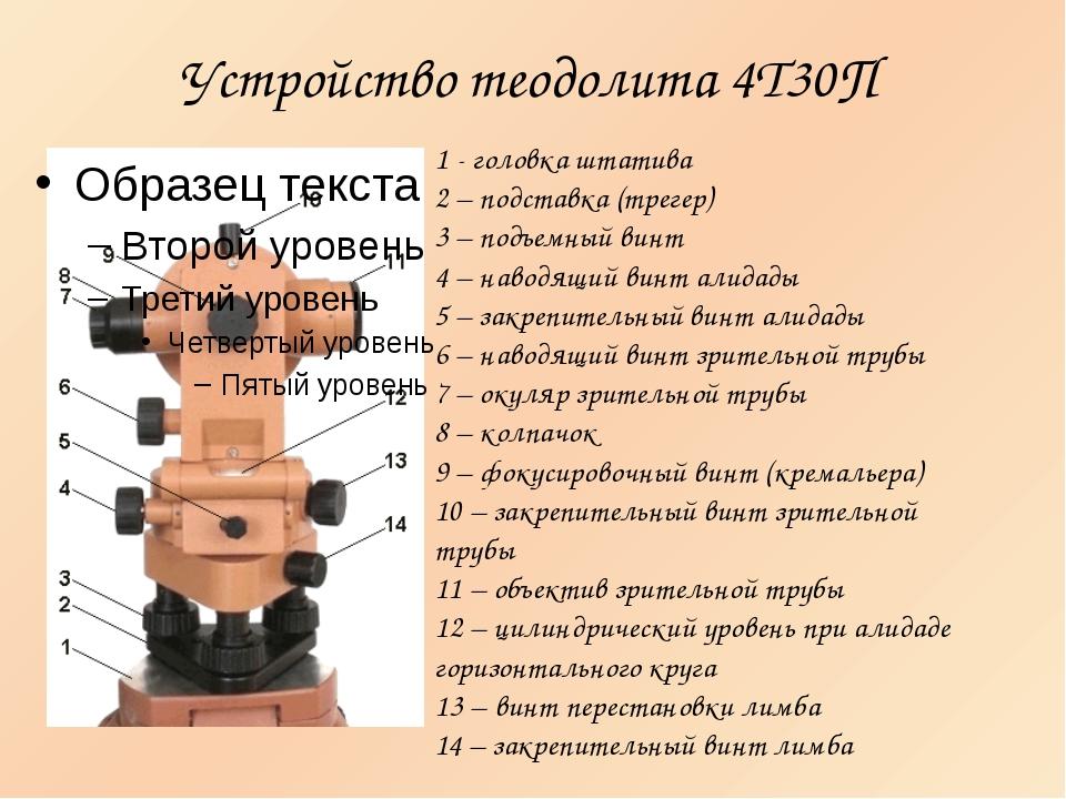 Устройство теодолита 4Т30П 1 - головка штатива 2 – подставка (трегер) 3 – под...