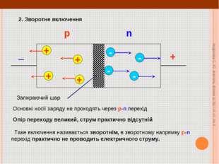 + _ 2. Зворотне включення + + + + - - - - Основні носії заряду не проходять ч